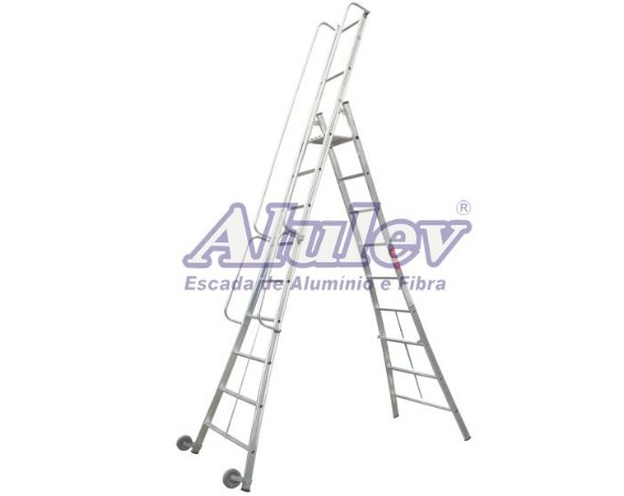 Escada Alumínio Plataforma Móvel 1,98 m - 06+P (Alulev)