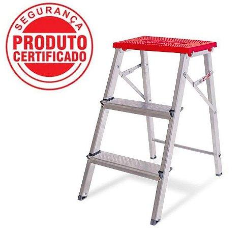Escada Alumínio Banqueta 02 degraus (Alumibraz)