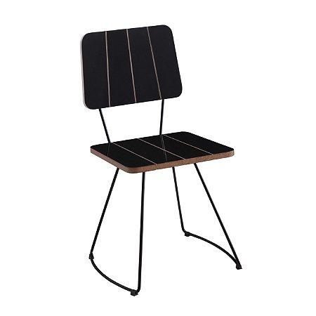 Cadeira Costela B. Meia Lua Aço Preto Lam A.Brilho Preto
