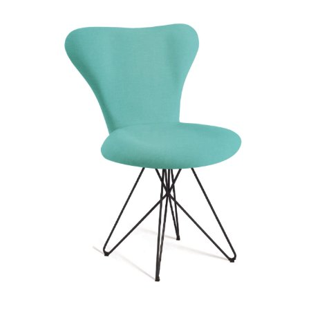 Cadeira Jacobsen B. Butterfly Aco Preto T1130 Linho Azul Turques
