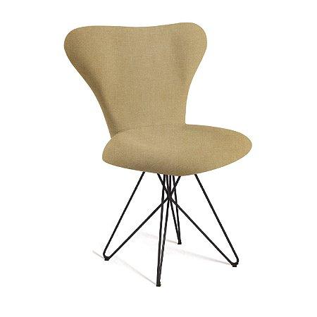 Cadeira Jacobsen B. Butterfly Aco Preto T1132 Linho Amarelo
