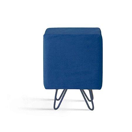 Puff Dado Azul Marinho Pés Aco