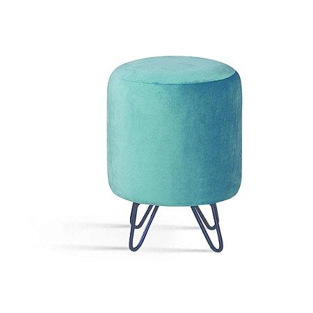 Puff Rolha Azul Pés Aço