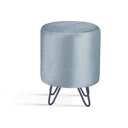 Puff Rolha Prata Pés Aço