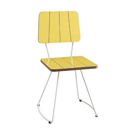 Cadeira Costela B. Meia Lua Aco Branco Lam A. Brilho Amarelo