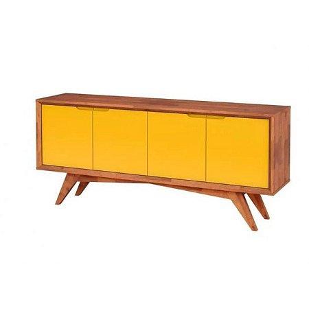 Buffet Querubim 04 portas cor Natural com Amarelo