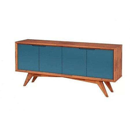 Buffet Querubim 04 portas cor Natural com Azul