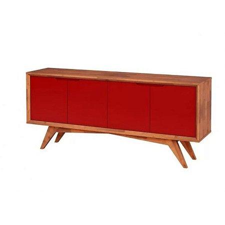 Buffet Querubim 04 portas cor Natural com Vermelho