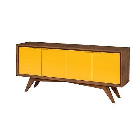Buffet Querubim 04 portas cor Pinhão com Amarelo