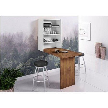 Armário Cosmo com mesa dobrável cor Pinhão com Branco