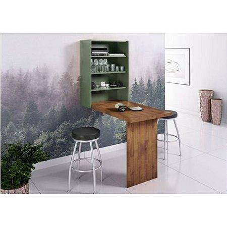 Armário Cosmo com mesa dobrável cor Pinhão com Verde Musgo
