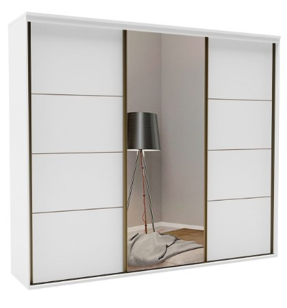 Roupeiro Eleganza 3 Portas 1 c/ Espelho 2270 mm Branco