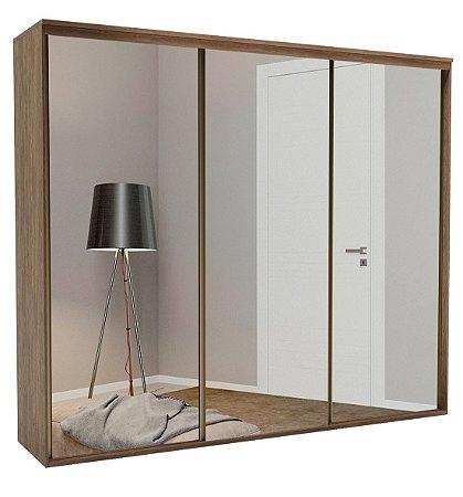 Roupeiro Luminum 3 Portas c/ Espelho 2670 mm  Ébano