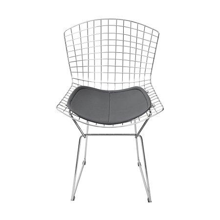 Cadeira Bertoia Cromada Preta