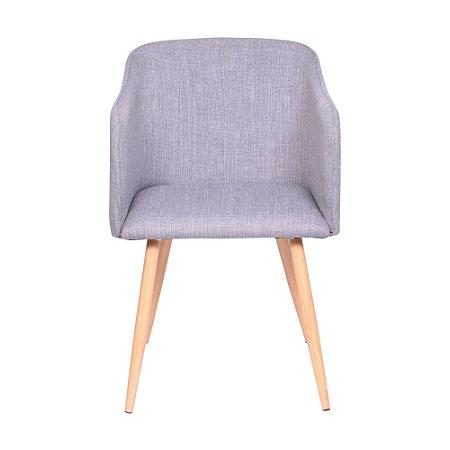 Cadeira Charla Com Braço Base Madeira Cinza
