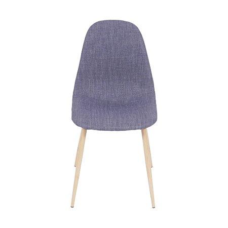 Cadeira Charla Em Linho Base Madeira Jeans Azul