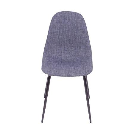 Cadeira Charla Em Linho Base Preta Jeans Azul