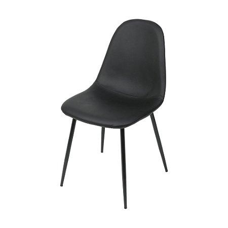 Cadeira Charla Em PU Base Preta Preto