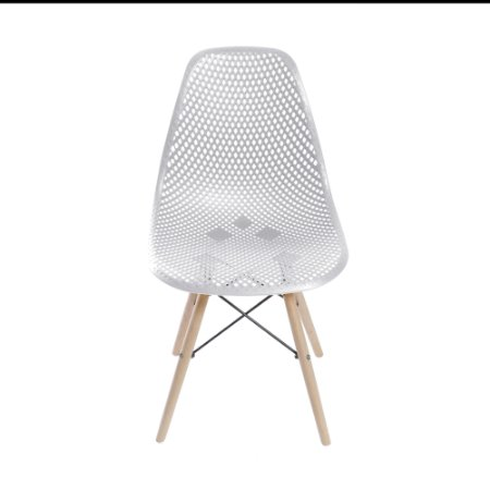 Cadeira Colmeia Base Madeira Branca