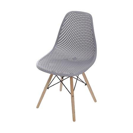 Cadeira Colmeia Base Madeira Cinza