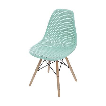 Cadeira Colmeia Base Madeira Tiffany