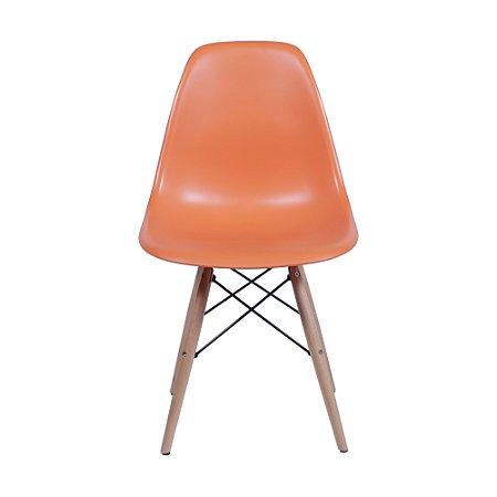 Cadeira DKR Base Madeira Laranja
