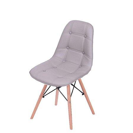 Cadeira DKR Botone Base Madeira Cinza