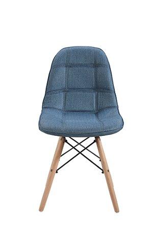 Cadeira DKR Botone Linho Base Madeira Azul