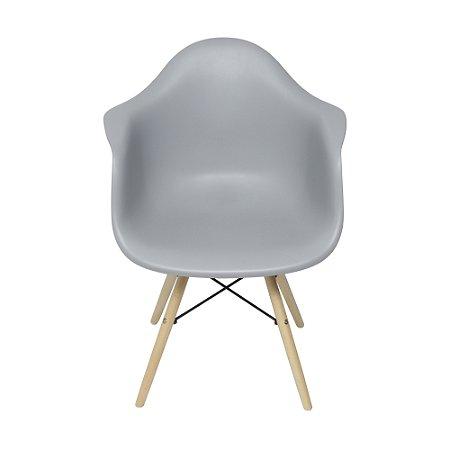 Cadeira DKR Com Braço Base Madeira Cinza