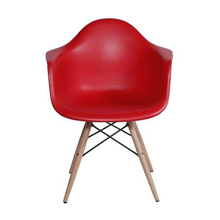 Cadeira DKR Com Braço Base Madeira Vermelha