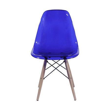 Cadeira DKR Policarbonato Base Madeira Azul