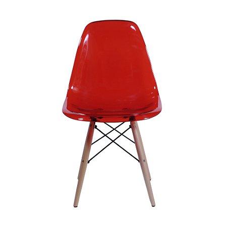 Cadeira DKR Policarbonato Base Madeira Vermelha