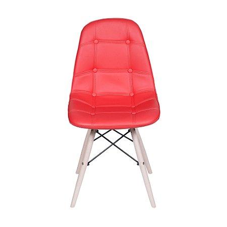 Cadeira DKR Botone Base Madeira Vermelha
