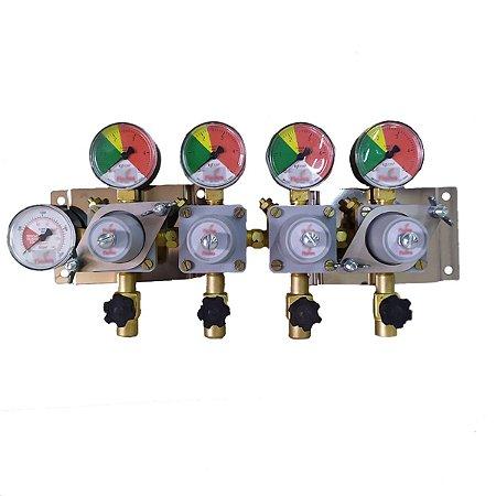 Régua Manifold para CO2 - 4 saídas (regua com 4 reguladores)