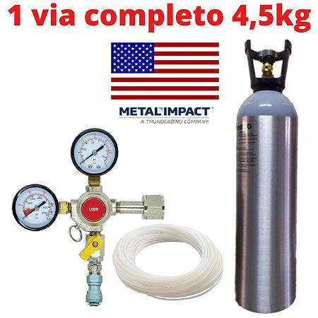 Kit Extração 1/4 Chopp Regulador 1 Via Cilindro Alumínio 4,5kg Metal Impact