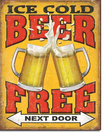 Placa Decorativa (em Metal) - Free Beer Next Door