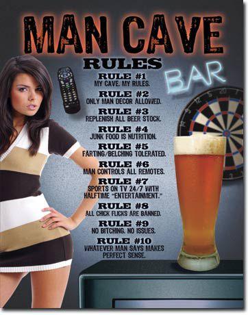 Placa Decorativa (em Metal) - Man Cave Rules