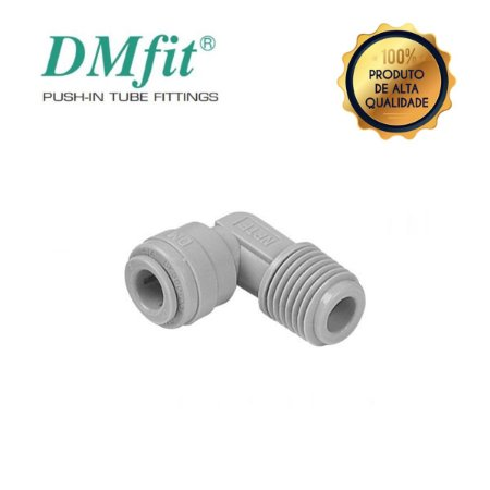 Conexão Engate Rápido Cotovelo Tubo 3/8 X  3/8 Rosca - DMFIT