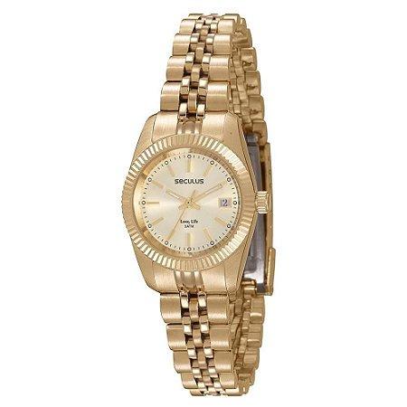 Relógio Seculus Feminino Clássico Dourado 77025lpsvda1