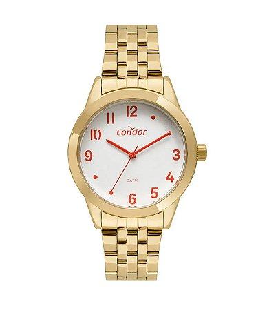 kit de relógio analógico condor feminino + brinco + colar - co2036kvsk4k dourado