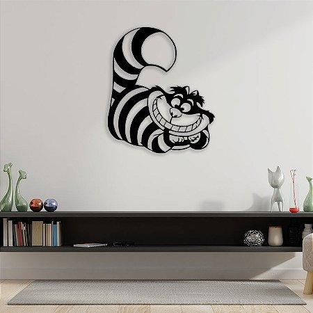 Quadro Decorativo Gato Alice No País Das Maravilhas em madeira