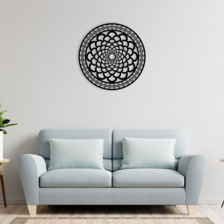 Quadro Decorativo Mandala Círculos em madeira