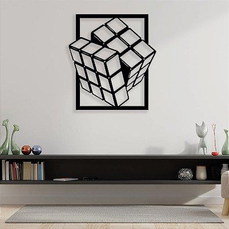 Quadro Decorativo Cubo Mágico 3d em madeira