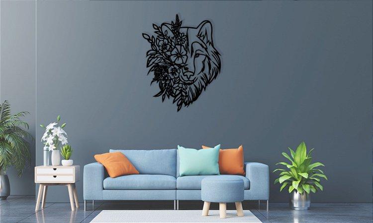 Lobo Floral Mandala Escultura De Parede em madeira