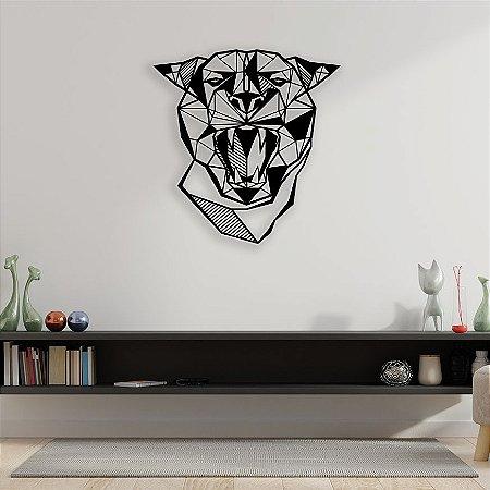 Pantera Cara Geométrica Escultura De Parede em madeira