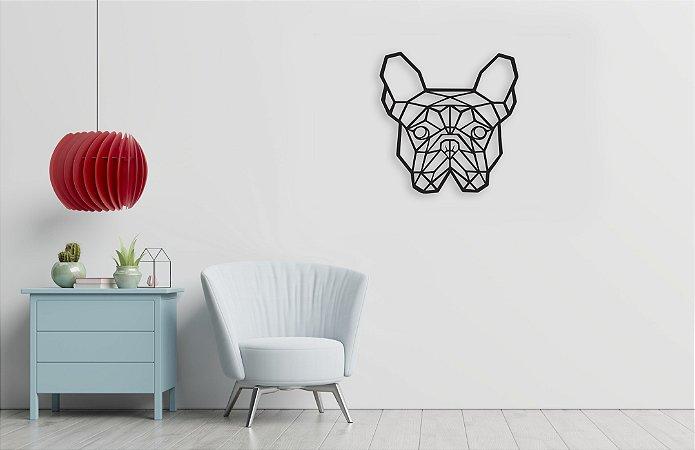 Escultura De Parede Bulldog Francês Cão Geométrico em madeira