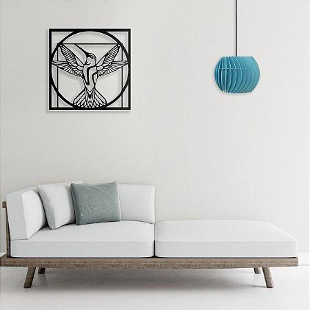 Quadro Decorativo Beija Flor Vitruviano Da Vinci em madeira