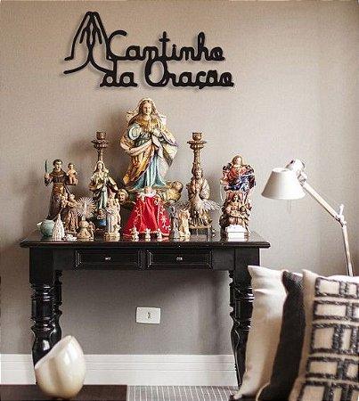 Escultura Parede Religiosa Cantinho Da Oração em Madeira