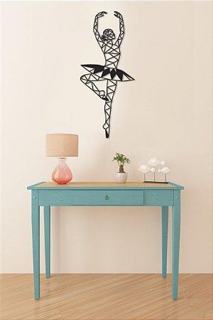 Bailarina Geométrica Escultura De Parede em madeira