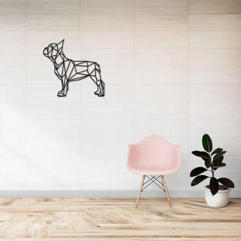 Decoração Escultura Parede Cachorro Buldogue Geométrico em madeira